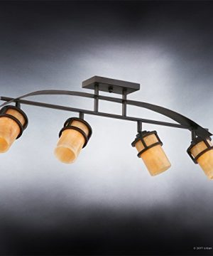 Urban Ambiance Luxury Rustic Track Lighting Medium Size 145 H X 36 W With Craftsman Style Elements Banded Wrought Iron Design Royal Bronze Finish And Butterscotch Onyx Stone Shade UQL2419 0 1 300x360