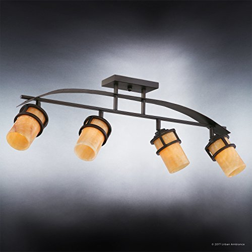 Urban Ambiance Luxury Rustic Track Lighting Medium Size 145 H X 36 W With Craftsman Style Elements Banded Wrought Iron Design Royal Bronze Finish And Butterscotch Onyx Stone Shade UQL2419 0 1