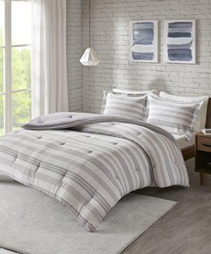 Urban Habitat Cole Stripe Print Ultra Soft Cotton Blend Jersey Knit Comforter Set Grey TwinTwin XL 0 0 300x360