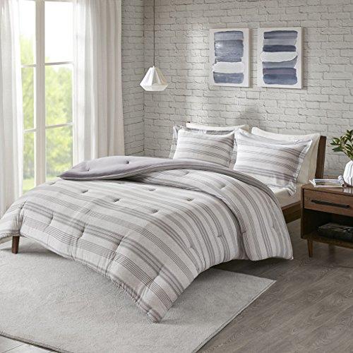 Urban Habitat Cole Stripe Print Ultra Soft Cotton Blend Jersey Knit Comforter Set Grey TwinTwin XL 0 0