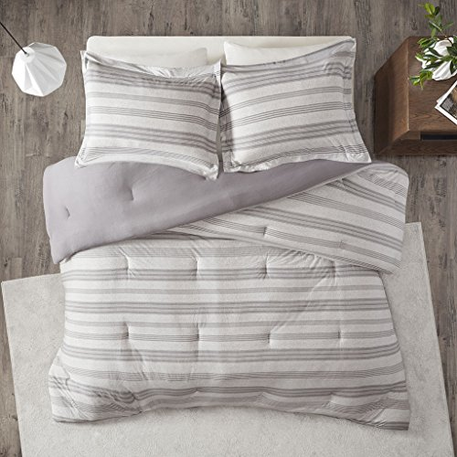 Urban Habitat Cole Stripe Print Ultra Soft Cotton Blend Jersey Knit Comforter Set Grey TwinTwin XL 0 1