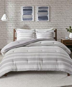 Urban Habitat Cole Stripe Print Ultra Soft Cotton Blend Jersey Knit Comforter Set Grey TwinTwin XL 0 300x360