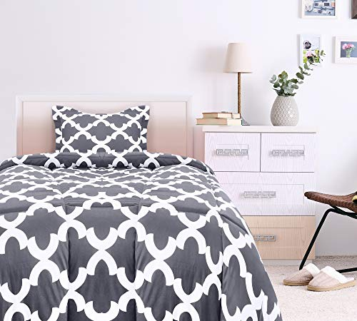 Utopia Bedding Printed Comforter Set TwinTwin XL Grey With 1 Pillow Sham Luxurious Brushed Microfiber Down Alternative Comforter Soft And Comfortable Machine Washable 0 0