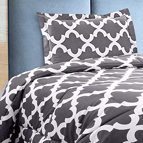 Utopia Bedding Printed Comforter Set TwinTwin XL Grey With 1 Pillow Sham Luxurious Brushed Microfiber Down Alternative Comforter Soft And Comfortable Machine Washable 0 1