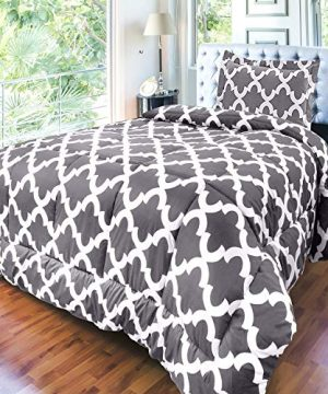 Utopia Bedding Printed Comforter Set TwinTwin XL Grey With 1 Pillow Sham Luxurious Brushed Microfiber Down Alternative Comforter Soft And Comfortable Machine Washable 0 2 300x360