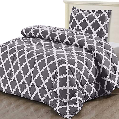 Utopia Bedding Printed Comforter Set TwinTwin XL Grey With 1 Pillow Sham Luxurious Brushed Microfiber Down Alternative Comforter Soft And Comfortable Machine Washable 0