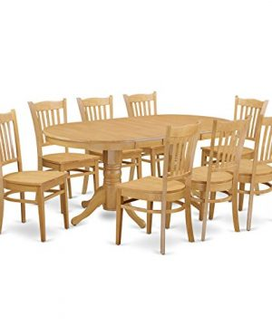VAGR9 OAK W 9 PC Table Set Table And 8 Dining Chairs 0 300x360