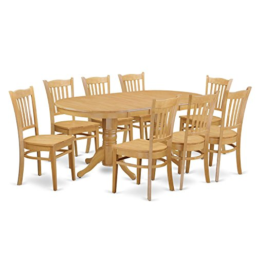 VAGR9 OAK W 9 PC Table Set Table And 8 Dining Chairs 0