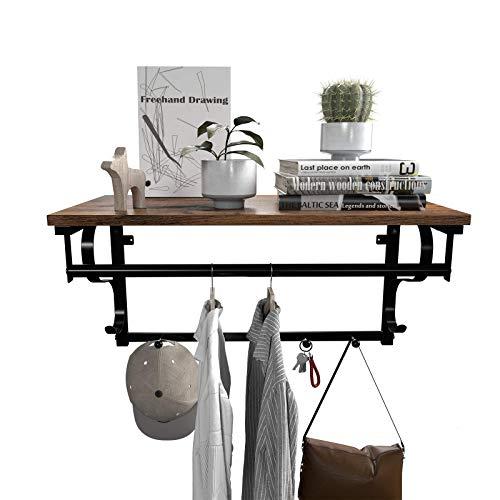VASAGLE Industrial Coat Rack Shelf Wall Mounted Hook Rack Shelf With Hanging Rail 5 Metal Hooks And Upper Shelf For Storage Hallway Entryway Bathroom Bedroom Living Room ULCR11BX 0 0