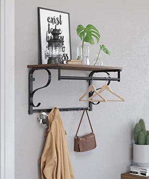 VASAGLE Industrial Coat Rack Shelf Wall Mounted Hook Rack Shelf With Hanging Rail 5 Metal Hooks And Upper Shelf For Storage Hallway Entryway Bathroom Bedroom Living Room ULCR11BX 0 1 300x360