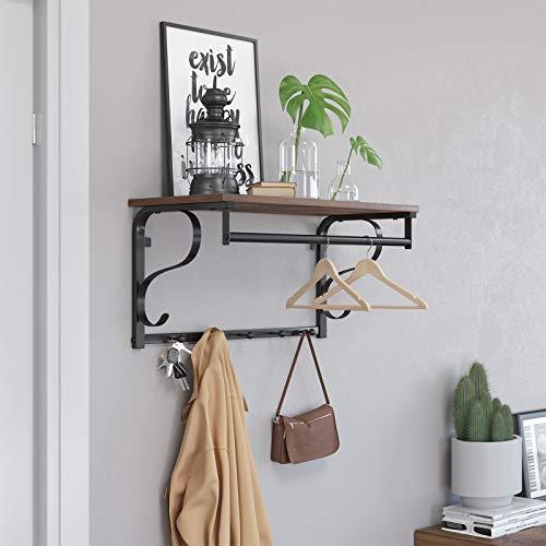 VASAGLE Industrial Coat Rack Shelf Wall Mounted Hook Rack Shelf With Hanging Rail 5 Metal Hooks And Upper Shelf For Storage Hallway Entryway Bathroom Bedroom Living Room ULCR11BX 0 1