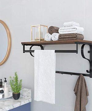 VASAGLE Industrial Coat Rack Shelf Wall Mounted Hook Rack Shelf With Hanging Rail 5 Metal Hooks And Upper Shelf For Storage Hallway Entryway Bathroom Bedroom Living Room ULCR11BX 0 2 300x360
