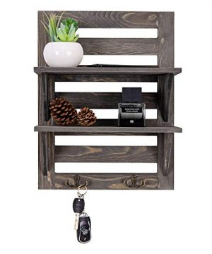 VERGOODR Rustic Wooden Wall Mounted Organizer Shelves With 2 Hooks 2 Tier Storage Rack Decorative Wall Shelf OrganizerKitchenBathroomlivingroom Farmhouse Rustic DcorGrey Grey 0 300x360