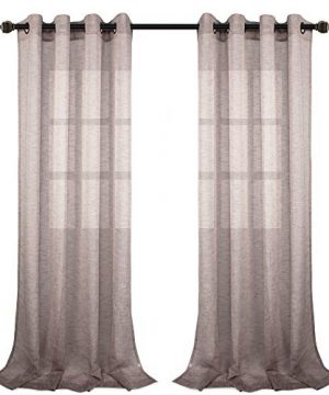 VOILYBIRD Vitoria Semi Sheer Curtains Linen Textured 84 Inches Long For Living Room Country Curtains For Farmhouse 54 W X 84 L 2 Panels Almond 0 300x360