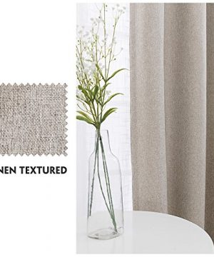 Vangao Room Darkening Curtains For Living Room Grommet Top Linen Textured Drapes For Bedroom 84 Inches Long2 Panels Greyish Beige 0 0 300x360