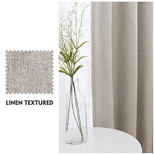 Vangao Room Darkening Curtains For Living Room Grommet Top Linen Textured Drapes For Bedroom 84 Inches Long2 Panels Greyish Beige 0 0
