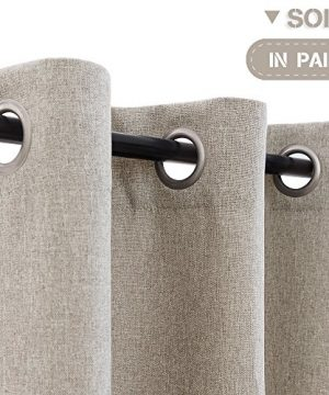 Vangao Room Darkening Curtains For Living Room Grommet Top Linen Textured Drapes For Bedroom 84 Inches Long2 Panels Greyish Beige 0 1 300x360