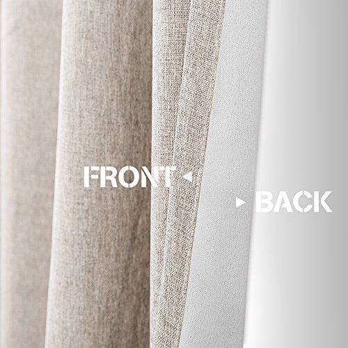 Vangao Room Darkening Curtains For Living Room Grommet Top Linen Textured Drapes For Bedroom 84 Inches Long2 Panels Greyish Beige 0 2