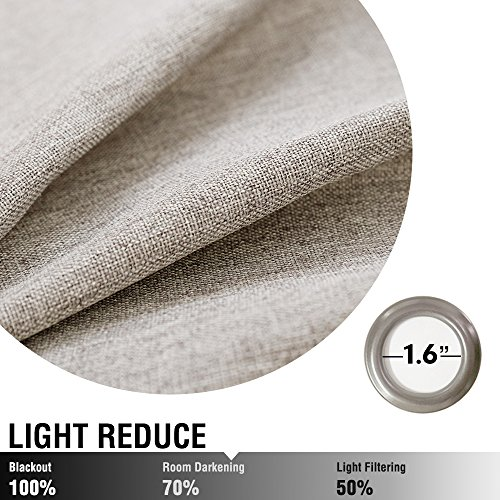 Vangao Room Darkening Curtains For Living Room Grommet Top Linen Textured Drapes For Bedroom 84 Inches Long2 Panels Greyish Beige 0 3
