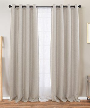 Vangao Room Darkening Curtains For Living Room Grommet Top Linen Textured Drapes For Bedroom 84 Inches Long2 Panels Greyish Beige 0 300x360