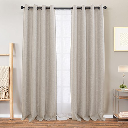 Vangao Room Darkening Curtains For Living Room Grommet Top Linen Textured Drapes For Bedroom 84 Inches Long2 Panels Greyish Beige 0