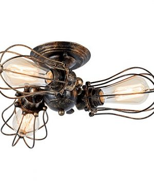 Vintage Ceiling Light Industrial Rotatable Semi Flush Mount Ceiling Light Metal Lamp Fixtures Painted Finish Moonkist With 3 Light Bronze 0 300x360