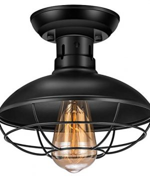 Vintage Rustic Semi Flush Mount Ceiling LightIndustrial Ceiling Light E26 Base Farmhouse Antique Caged Style Ceiling Lamp Fixture For Hallway Stairway Foyer Kitchen Garage Porch Entryway 0 300x360