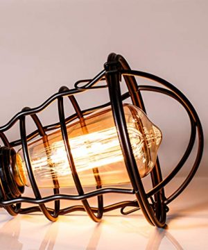 Vintage Semi Flush Mount Ceiling Light E26 E27 Base Edison Rustic Antique Metal Caged Industrial Ceiling Light Fixture For Hallway Porch Bathroom Stairway Bedroom Kitchen 2 Pack 0 1 300x360