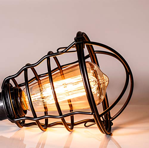 Vintage Semi Flush Mount Ceiling Light E26 E27 Base Edison Rustic Antique Metal Caged Industrial Ceiling Light Fixture For Hallway Porch Bathroom Stairway Bedroom Kitchen 2 Pack 0 1