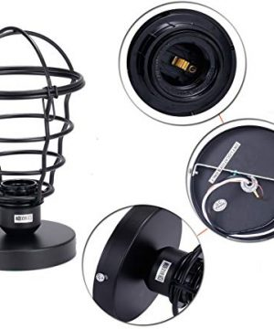 Vintage Semi Flush Mount Ceiling Light E26 E27 Base Edison Rustic Antique Metal Caged Industrial Ceiling Light Fixture For Hallway Porch Bathroom Stairway Bedroom Kitchen 2 Pack 0 2 300x360