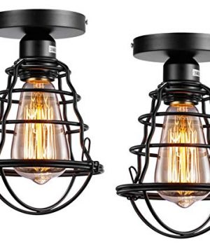 Vintage Semi Flush Mount Ceiling Light E26 E27 Base Edison Rustic Antique Metal Caged Industrial Ceiling Light Fixture For Hallway Porch Bathroom Stairway Bedroom Kitchen 2 Pack 0 300x360