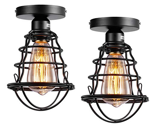 Vintage Semi Flush Mount Ceiling Light E26 E27 Base Edison Rustic Antique Metal Caged Industrial Ceiling Light Fixture For Hallway Porch Bathroom Stairway Bedroom Kitchen 2 Pack 0