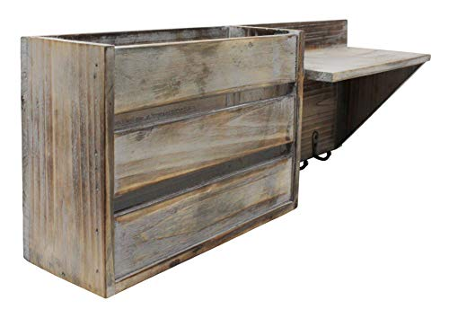 Vintage Torched Wood Rustic Wall Mounted Key Mail HolderOrganizer With 3 Key Hooks 1 Compartment And Shelf For Entryway Or Mud Room Holds Documents Bills Letters Keys And More 0 0