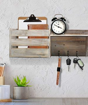 Vintage Torched Wood Rustic Wall Mounted Key Mail HolderOrganizer With 3 Key Hooks 1 Compartment And Shelf For Entryway Or Mud Room Holds Documents Bills Letters Keys And More 0 2 300x360