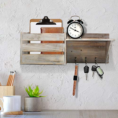 Vintage Torched Wood Rustic Wall Mounted Key Mail HolderOrganizer With 3 Key Hooks 1 Compartment And Shelf For Entryway Or Mud Room Holds Documents Bills Letters Keys And More 0 2