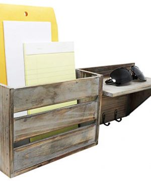 Vintage Torched Wood Rustic Wall Mounted Key Mail HolderOrganizer With 3 Key Hooks 1 Compartment And Shelf For Entryway Or Mud Room Holds Documents Bills Letters Keys And More 0 3 300x360
