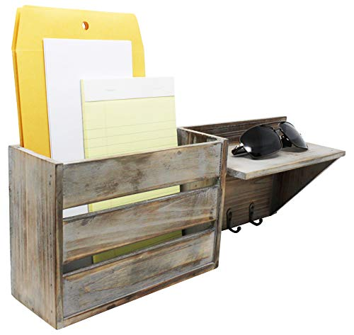 Vintage Torched Wood Rustic Wall Mounted Key Mail HolderOrganizer With 3 Key Hooks 1 Compartment And Shelf For Entryway Or Mud Room Holds Documents Bills Letters Keys And More 0 3
