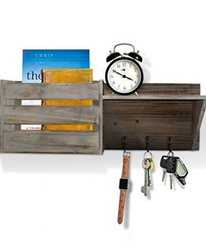 Vintage Torched Wood Rustic Wall Mounted Key Mail HolderOrganizer With 3 Key Hooks 1 Compartment And Shelf For Entryway Or Mud Room Holds Documents Bills Letters Keys And More 0 4 300x360
