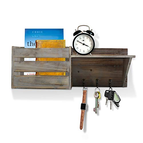 Vintage Torched Wood Rustic Wall Mounted Key Mail HolderOrganizer With 3 Key Hooks 1 Compartment And Shelf For Entryway Or Mud Room Holds Documents Bills Letters Keys And More 0 4