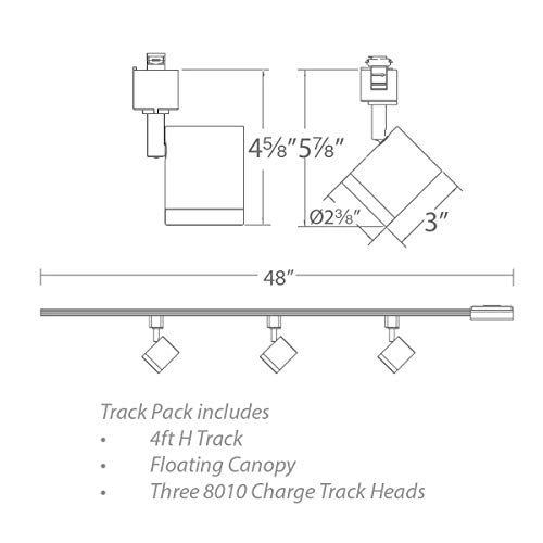 WAC Lighting H 80103 30 BK Charge LED Energy Star 3 Light Track Kit Black 0 0