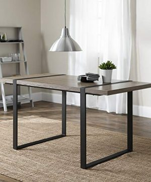 WE Furniture Industrial Metal Wood Rectangle Kitchen Dining Room Table Driftwood 0 300x360