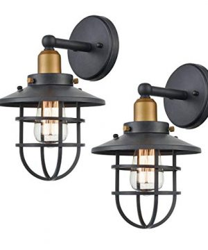 WILDSOUL 40021TG 2 Vintage Classic Edison Wall Sconce LED Compatible Industrial Modern Farmhouse Vanity Wall Light Fixture With Bulbs Metal Cage Graphite Finish Pack Of 2 0 300x360