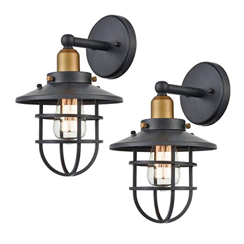 WILDSOUL 40021TG 2 Vintage Classic Edison Wall Sconce LED Compatible Industrial Modern Farmhouse Vanity Wall Light Fixture With Bulbs Metal Cage Graphite Finish Pack Of 2 0