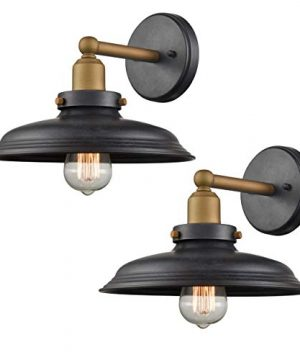 WILDSOUL 40031TG 2 Vintage Edison Barn Wall Sconce LED Compatible Industrial Modern Farmhouse Vanity Wall Light Fixture With Bulbs Graphite And Antique Brass Finish Pack Of 2 0 300x360