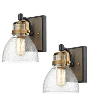 WILDSOUL 40061BK 2 Modern Farmhouse 1 Light Wall Sconce Fixture LED Compatible Rustic Vintage Oak Wood Glass Bathroom Vanity Light Matte Black And Antique Brass With Seeded Glass Pack Of 2 0 300x360