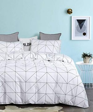 Wake In Cloud Geometric Comforter Set 100 Cotton Fabric With Soft Microfiber Fill Bedding Black Pattern Printed On White 3pcs Twin Size 0 0 300x360