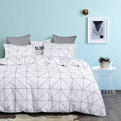 Wake In Cloud Geometric Comforter Set 100 Cotton Fabric With Soft Microfiber Fill Bedding Black Pattern Printed On White 3pcs Twin Size 0 0