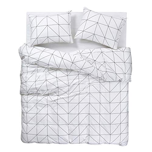 Wake In Cloud Geometric Comforter Set 100 Cotton Fabric With Soft Microfiber Fill Bedding Black Pattern Printed On White 3pcs Twin Size 0 1