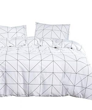 Wake In Cloud Geometric Comforter Set 100 Cotton Fabric With Soft Microfiber Fill Bedding Black Pattern Printed On White 3pcs Twin Size 0 300x360