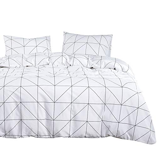 Wake In Cloud Geometric Comforter Set 100 Cotton Fabric With Soft Microfiber Fill Bedding Black Pattern Printed On White 3pcs Twin Size 0
